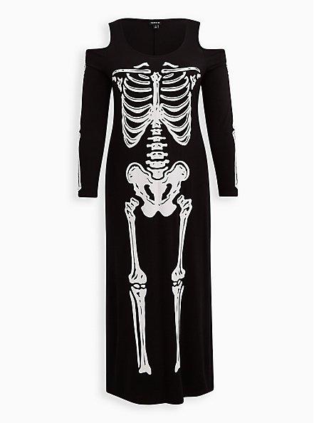 Sexy Skeleton Cold Shoulder Maxi Costume, BLACK-WHITE, hi-res