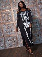 Sexy Skeleton Cold Shoulder Maxi Costume, , hi-res