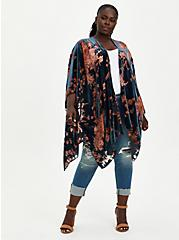 Plus Size Blue Multi Floral Burnout Ruana, , alternate