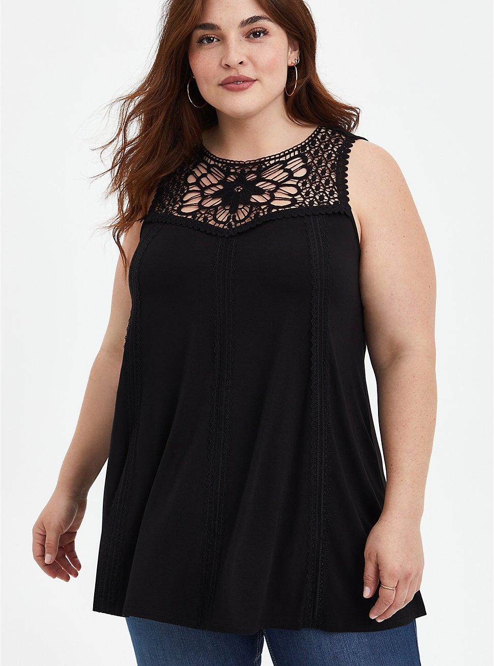 Super Soft Black Embroidered Tank, DEEP BLACK, hi-res