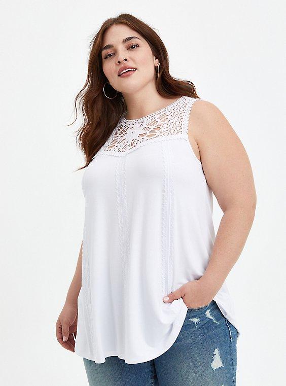 Embroidered Tank - Super Soft White , BRIGHT WHITE, hi-res
