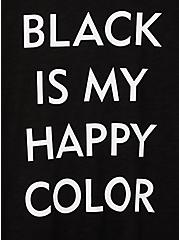 Relaxed Fit Crew Tee - Happy Color Roll Sleeve Black , DEEP BLACK, alternate