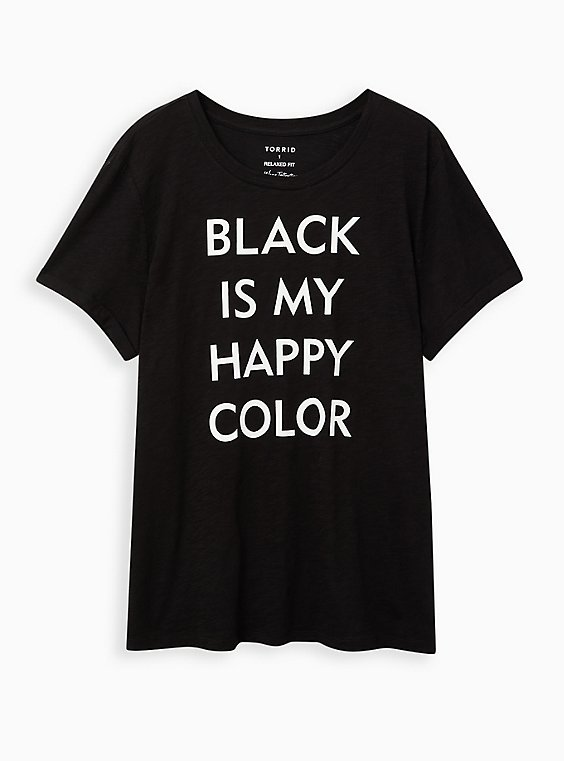 Relaxed Fit Crew Tee - Happy Color Roll Sleeve Black , DEEP BLACK, hi-res