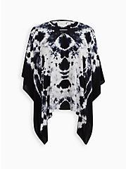 Black & White Tie Dye Poncho, , hi-res