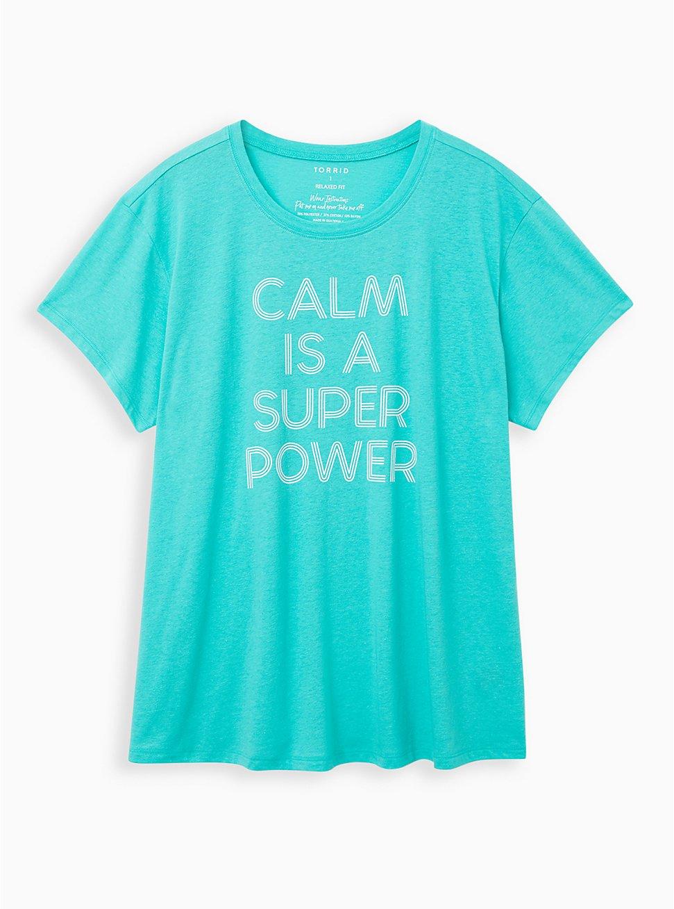 Relaxed Fit Crew Tee – Calm Power Aqua, AQUA GREEN, hi-res