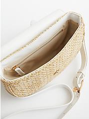 White Faux Leather And Raffia Belt Bag, MULTI, alternate