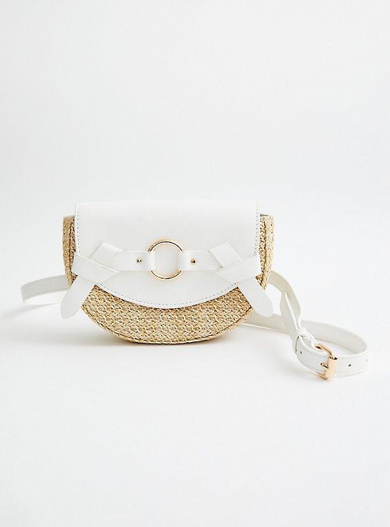 White Faux Leather And Raffia Belt Bag, MULTI, hi-res