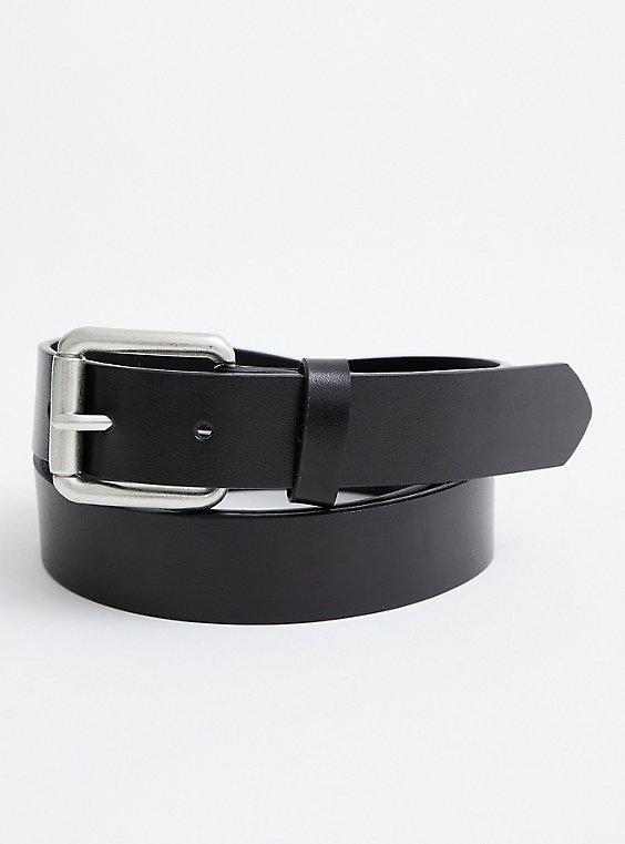 Black Leather Jean Belt , , hi-res