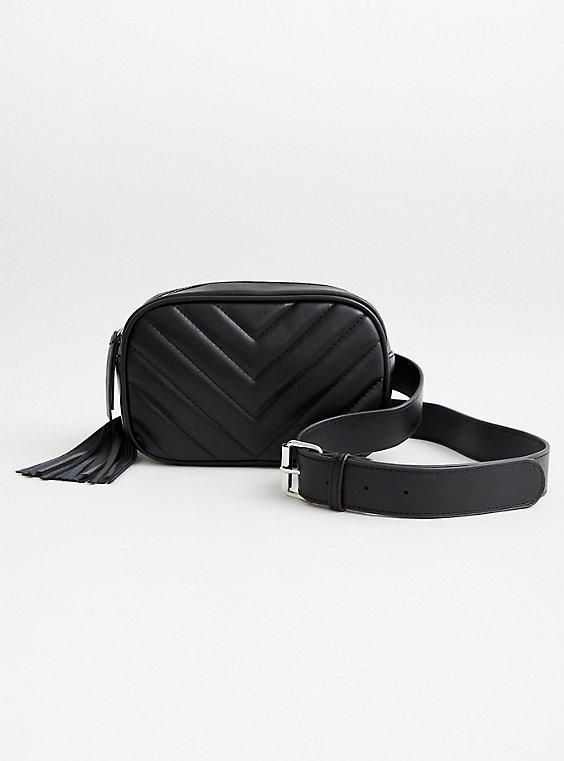 Black Quilted Belt Bag , BLACK, hi-res