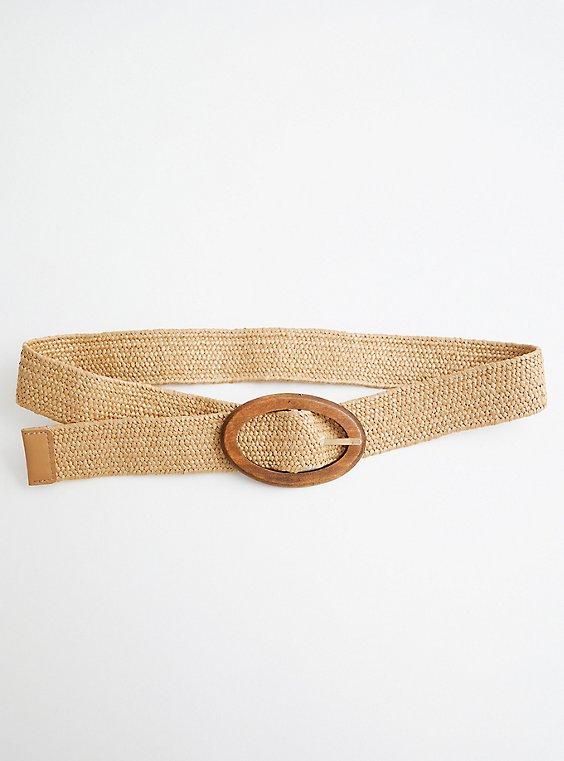 B Neutral Raffia Stretch Belt , BROWN, hi-res
