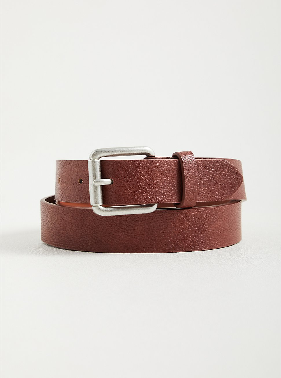Jean Belt with Burnished Silver Buckle -  Faux Leather Chocolate Brown , BROWN, hi-res