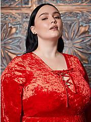 Sexy Devil Lace-Up Asymmetrical Costume, JESTER RED, alternate