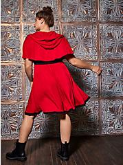 Fairy Tale Corset With Hooded Capelet Costume, JESTER RED, alternate