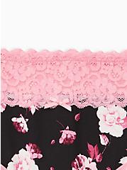 Wide Lace Hipster Panty - Cotton Floral Black + Pink, MULTI FORAL, alternate