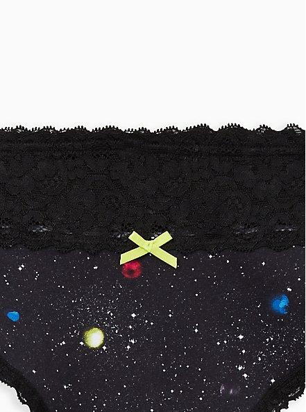 Wide Lace Thong Panty - Cotton Intergalactic Black, MULTI, alternate