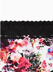 Wide Lace Brief Panty - Cotton Watercolor Explosion White, MULTI, alternate