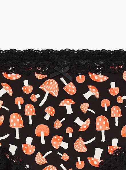 Wide Lace Cheeky Panty - Cotton Mushroom Black, MULTI, alternate