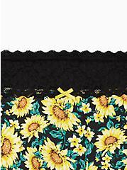 Wide Lace Boyshort Panty - Cotton Sunflower Black, MULTI FORAL, alternate