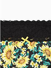Wide Lace Thong Panty - Cotton Sunflower Black, MULTI FORAL, alternate