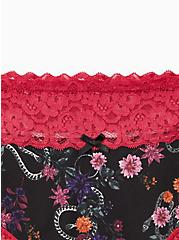 Wide Lace Trim Cheeky Panty - Cotton Floral Snake Garden Black, MULTI FORAL, alternate