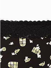 Wide Lace Trim Boyshort Panty - Cotton Haunted Mansion Ghosts Black, MULTI, alternate