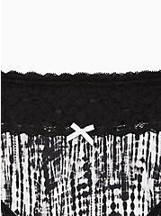 Wide Lace Trim Thong Panty - Cotton Tie-Dye Black & White, MULTI, alternate