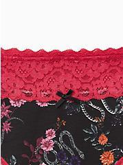 Plus Size Wide Lace Trim Thong Panty - Cotton Floral Snake Garden Black, MULTI, alternate