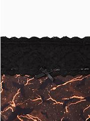Wide Lace Trim Thong Panty - Cotton Stormy Bats Black, MULTI, alternate