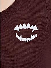 Plus Size Universal Monsters Dracula Coffin Fray Sweater - Black, BURGUNDY, alternate