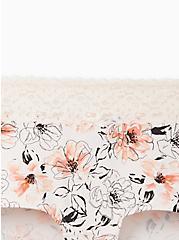 Wide Lace Trim Boyshort Panty - Cotton Floral Prink , MULTI FORAL, alternate
