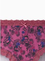 Wide Lace Trim Cheeky Panty - Cotton Floral Purple, MULTI FORAL, alternate