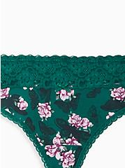 Wide Lace Trim Thong Panty -  Cotton Floral Green, MULTI FORAL, alternate