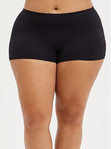 Seamless Boyshort Panty - Creep It Real Black, RICH BLACK, alternate