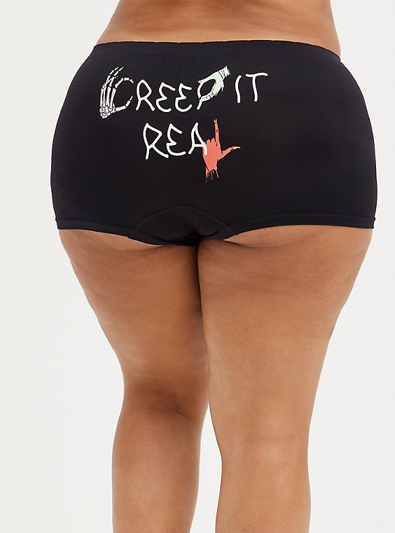 Seamless Boyshort Panty - Creep It Real Black, RICH BLACK, hi-res