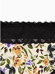Wide Lace Trim Cheeky Panty - Cotton Multi Floral Blush, MULTI FORAL, alternate