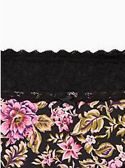Plus Size Wide Lace Trim Cheeky Panty - Cotton Floral Black, MULTI FORAL, alternate