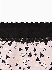 Wide Lace Trim Cheeky Panty - Cotton Hearts & Stars Pink , MULTI, alternate