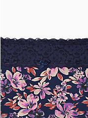 Wide Lace Trim Boyshort Panty - Cotton Floral Navy, MULTI FORAL, alternate