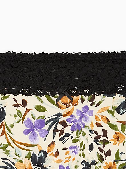 Wide Lace Trim Boyshort Panty - Cotton Multi Floral Blush, MULTI FORAL, alternate
