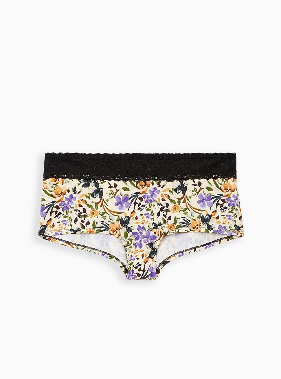 Wide Lace Trim Boyshort Panty - Cotton Multi Floral Blush, MULTI FORAL, hi-res