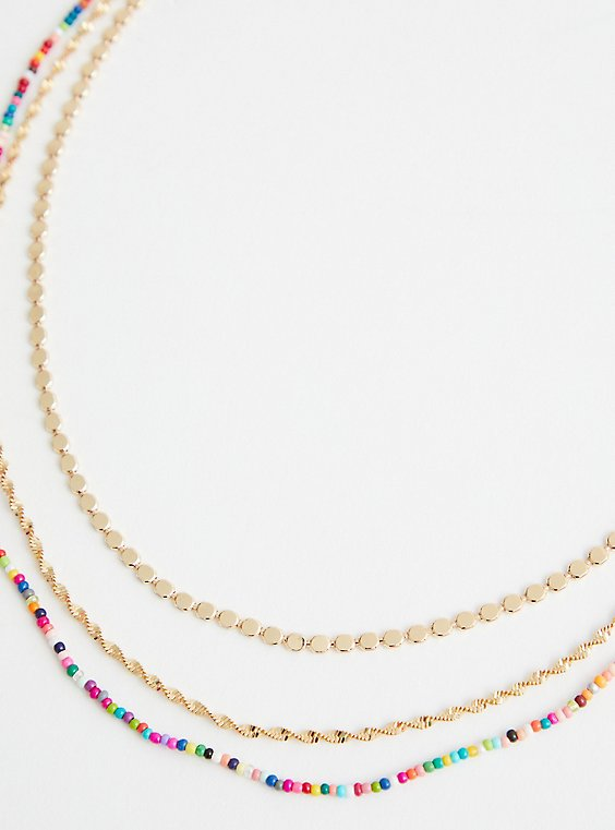 Multicolored Beaded Layer Necklace - Gold Tone, , hi-res