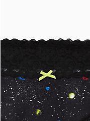 Wide Lace Cheeky Panty - Cotton Intergalactic Black, MULTI, alternate