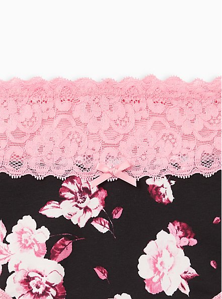 Wide Lace Cheeky Panty - Cotton Floral Black + Pink, MULTI FORAL, alternate