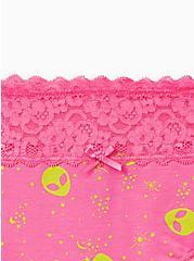 Plus Size Wide Lace Hipster Panty - Cotton Alien Pink, MULTI, alternate