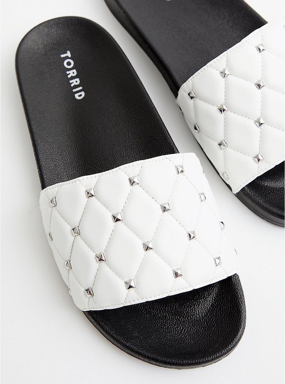 Studded Slide Sandal - Quilted Faux Leather White, , hi-res