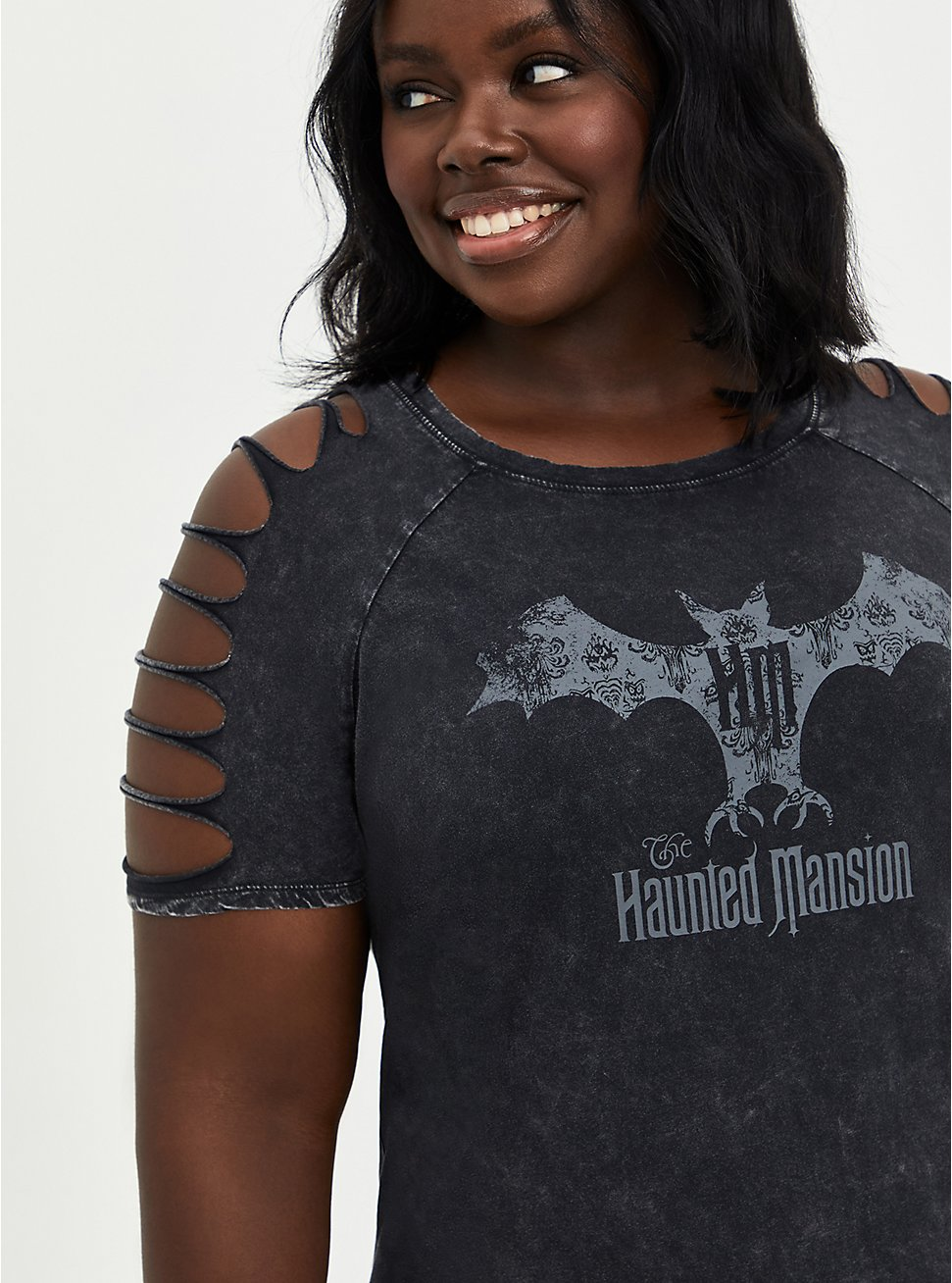 Disney Haunted Mansion Bat Slash Top - Mineral Wash Black, DEEP BLACK, hi-res