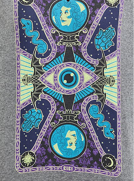 Plus Size Disney Haunted Mansion Tarot Card Sweatshirt - Heather Grey , LIGHT HEATHER GREY, alternate