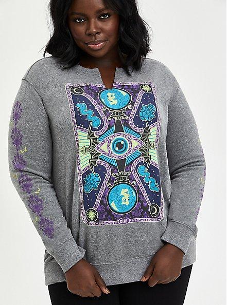 Plus Size Disney Haunted Mansion Tarot Card Sweatshirt - Heather Grey , LIGHT HEATHER GREY, hi-res