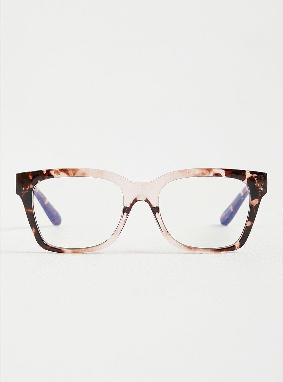 Blush & Animal Print Square Blue Light Glasses , , hi-res