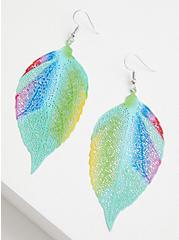 Multi Color Filigree Leaf Earrings, , alternate